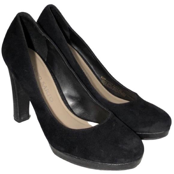 Franco Sarto Black Baroque Suede Heels